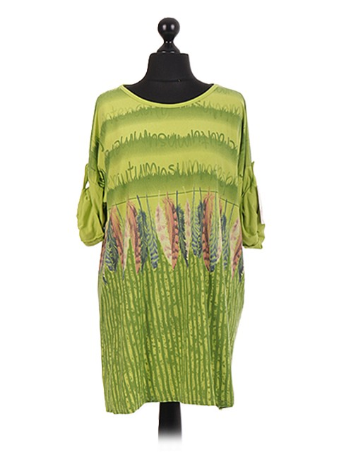 Italian Feather Print Tunic Dress