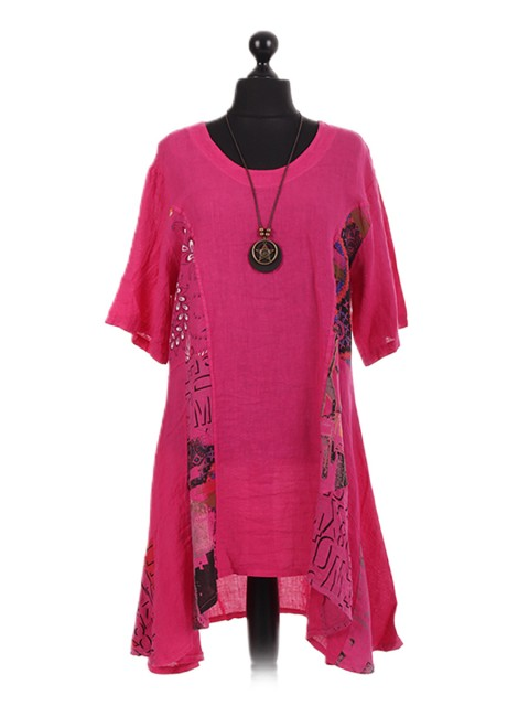 Italian Floral Panel Oversized Necklace Dress