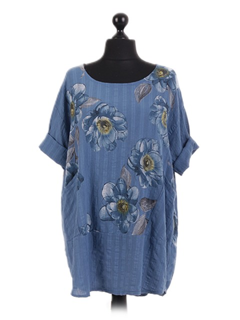 Italian Floral Pocket Oversized Tunic Top