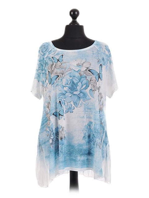 Italian Short Sleeve Butterfly Print Tunic