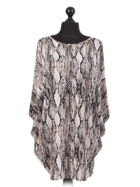 Made In Italy Snake Print Batwing Top