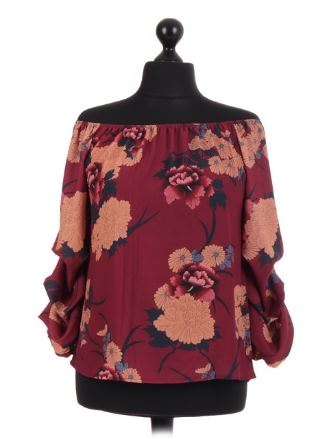 Italian Stem Floral Bardot Blouse Top