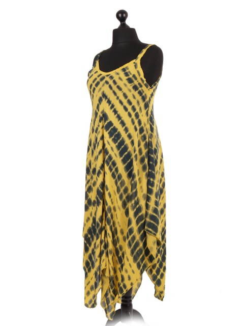 Italian Tie & Dye Strappy Fluid Handkerchief Hem Dress