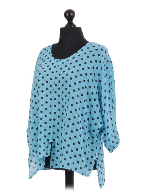 Italian Black Polka Dot Batwing Top