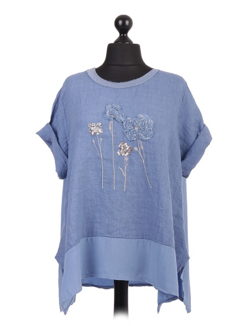 Italian Floral Applique Linen Tunic Top