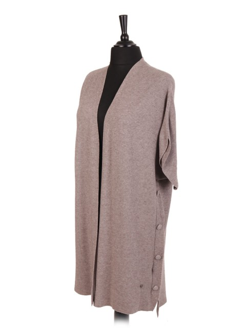 Italian Knitted Long Cardigan With Side Button Panel