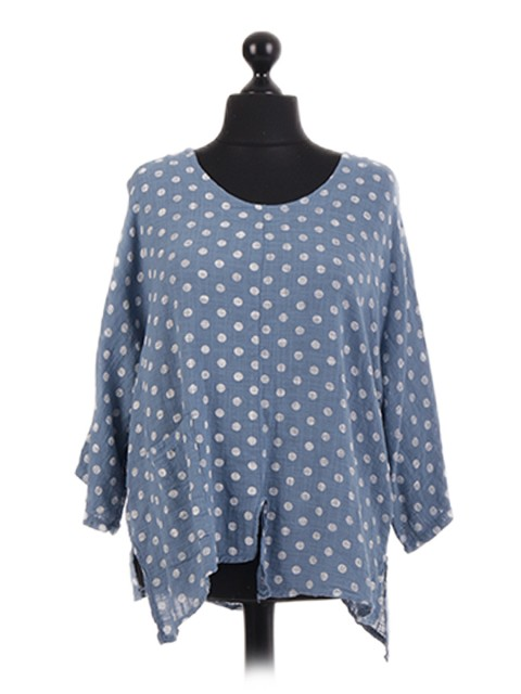 Italian White Polka Dot Batwing Top