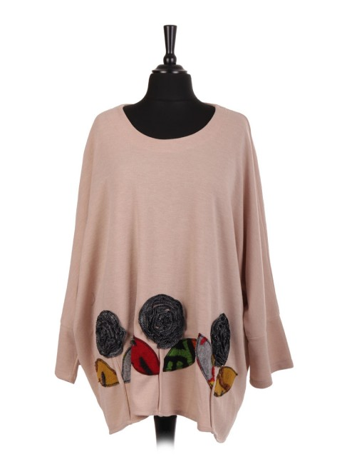 Italian Lana Wool Mix Applique Floral Batwing Top