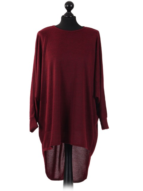 Italian Plain High Low Batwing Top maroon