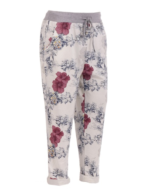 Plus Size Italian Floral Printed Trouser