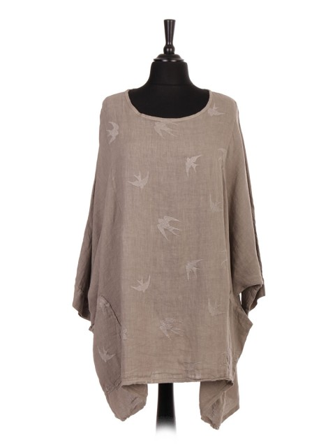 Plus Size Italian Linen Bird Embroidered Batwing Tunic Top With Front Pockets