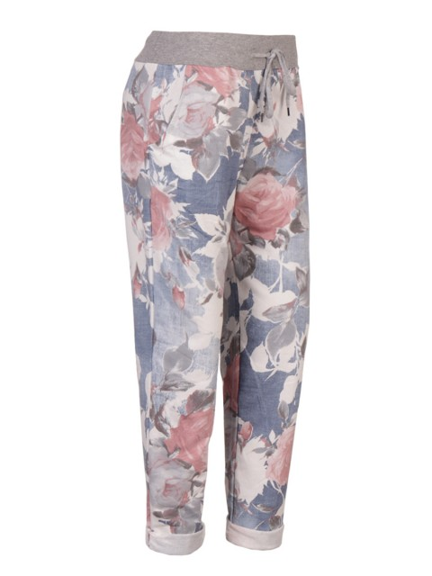 Plus Size Italian Made Floral Print Cotton Trousers