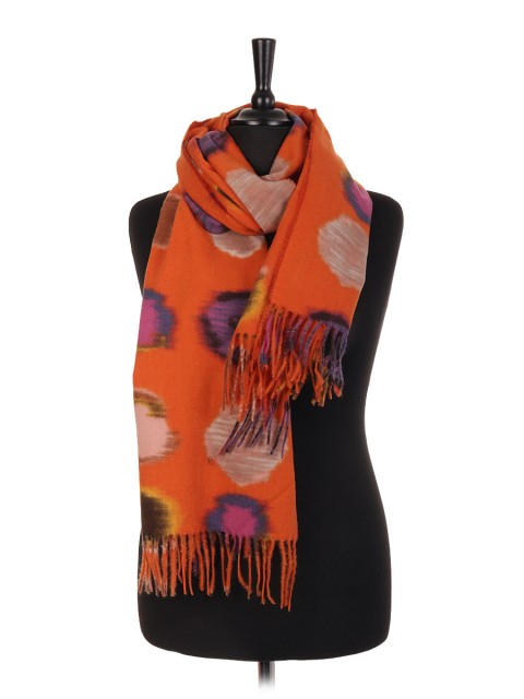 Polka Dot Print Wool Mix Pashmina Scarf/Shawl