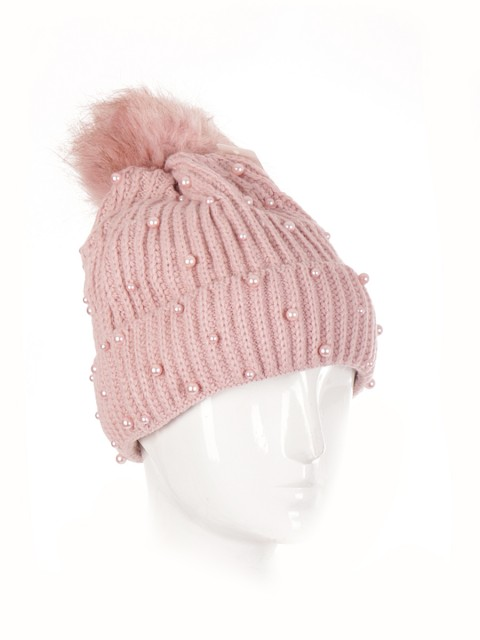 Pom Pom Knitted Pearl Hat