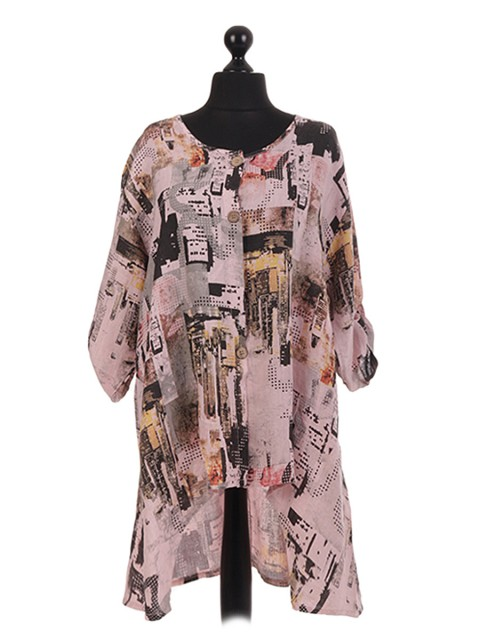 Italian Printed Dip Hem Shirt Dress