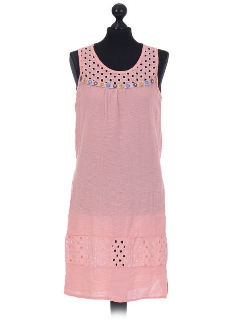 Italian Sleeveless Laser Cut Detail Dress pink