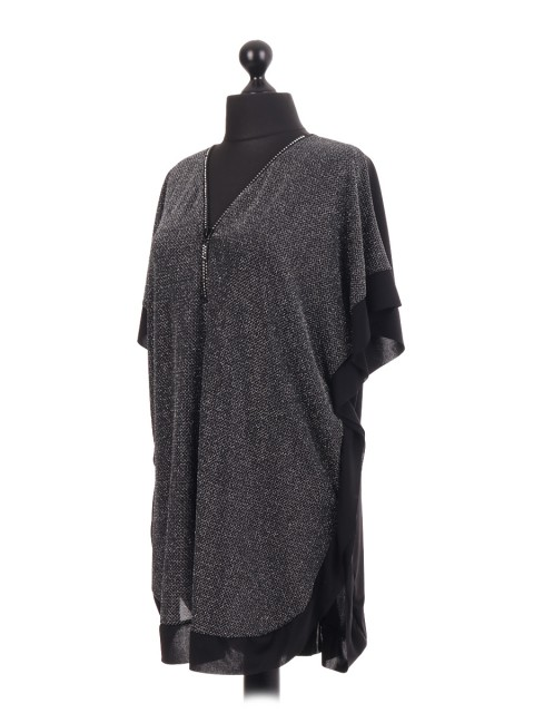 Sparkle Diamante Zip Neck Poncho Tunic Top