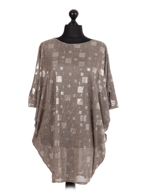 Square Pattern Batwing Top - Color Gold
