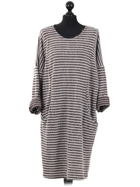 Italian Knitted Stripe Front Pockets Winter Dress Mocha