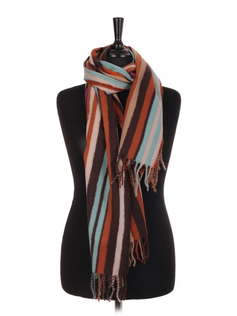 Stripe Print Wool Mix Pashmina Scarf/Shawl