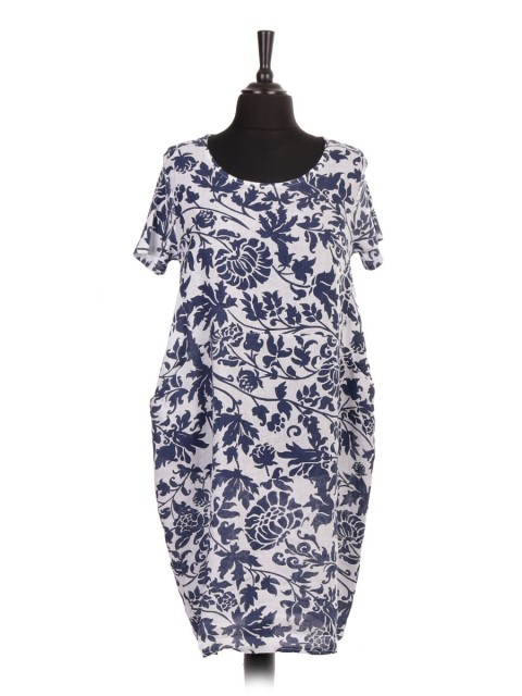 Italian Linen Floral Lagenlook Dress With Ribbed Sleeves And Front Pockets