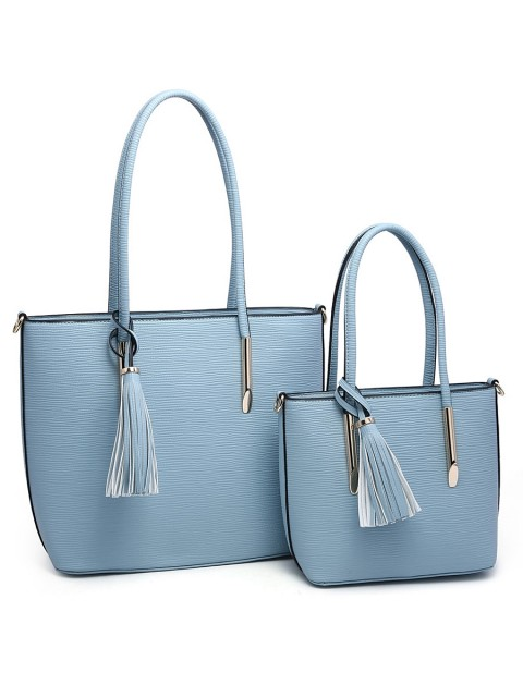 Textured Faux Leather Tote Bag With Tassel Detail