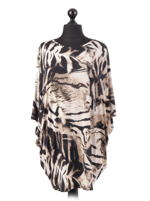 Tiger Print Baggy Tunic Top