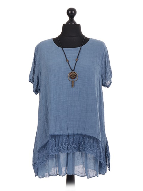 Italian two Layered Lace Trim Necklace Tunic