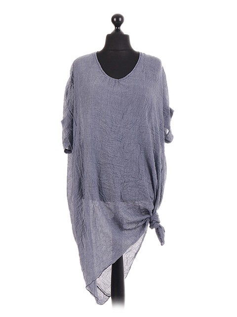 Italian Batwing Side Tie Cotton Tunic