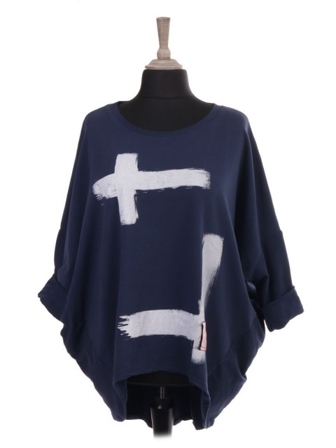 Italian Brush Stroke Dip Hem Batwing Top