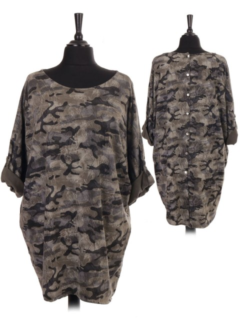 Italian Camouflage Print Diamante Star Top With Back Button Panel