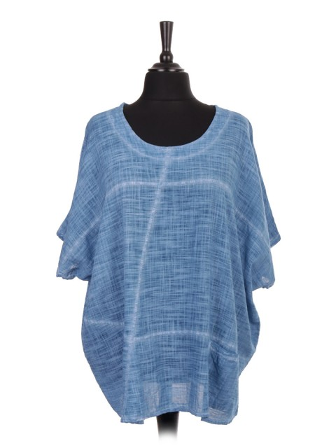 Italian Cold Dye Linen Batwing Top With Front Pocket