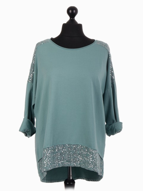 Italian Dip Hem Top With Crochet And Sequin Patch