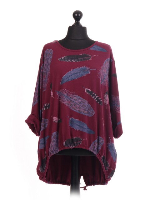 Italian Feather Print Lagenlook Tops