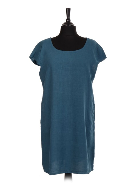 Italian Linen Lagenlook Dress With Ribbed Panel And Side Pockets