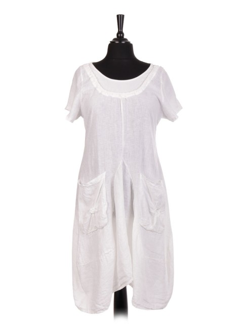 Italian Short Sleeve Linen Lagenlook Dress With Front Pockets