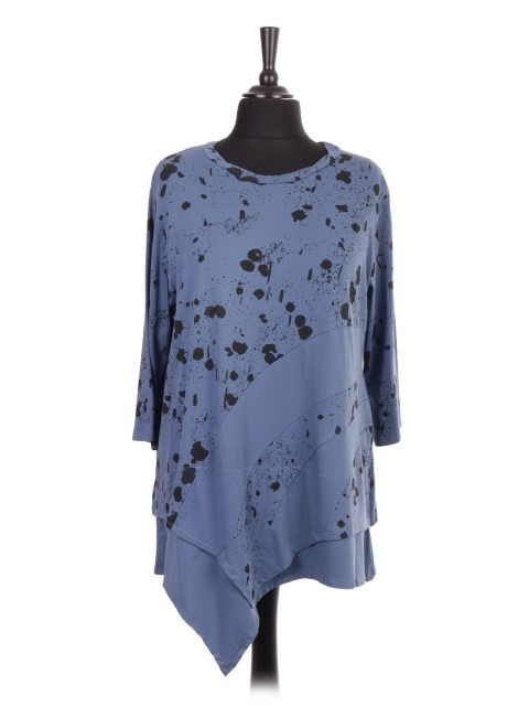 Italian Splash Print Asymmetric Hem Tunic Top