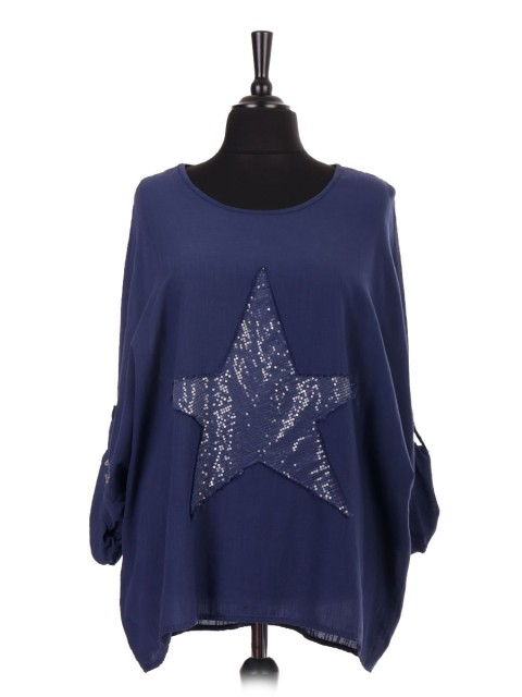 Italian Turn-up Sleeve Star Sequin Batwing Top