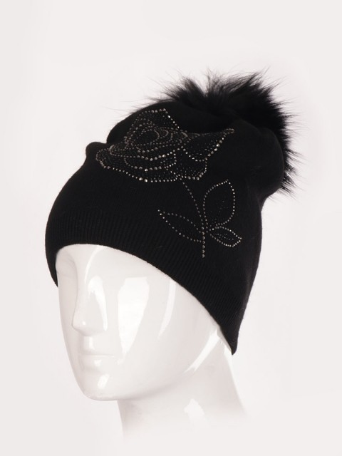 Wool Mix Flower Diamante Pom Pom Hat