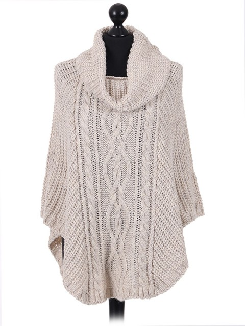 Italian Ladies Wool Mix Turtle Neck Knitted  Poncho beige