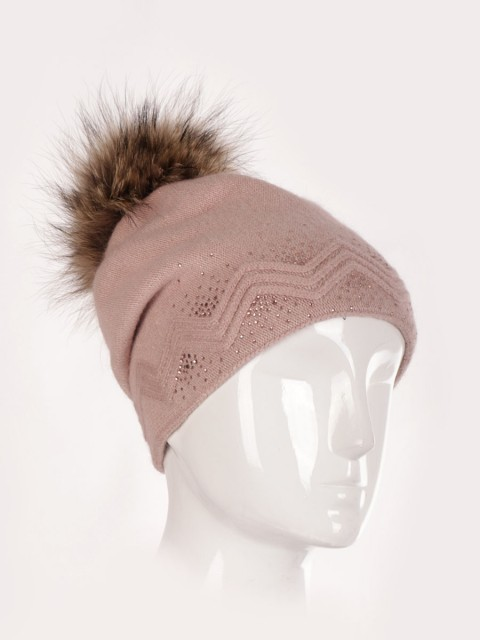 Wool Mix Zig Zag Pattern Diamante Detail Pom Pom Hat
