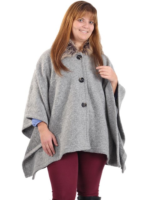 Ladies Faux Fur Collar Buttoned Poncho Grey