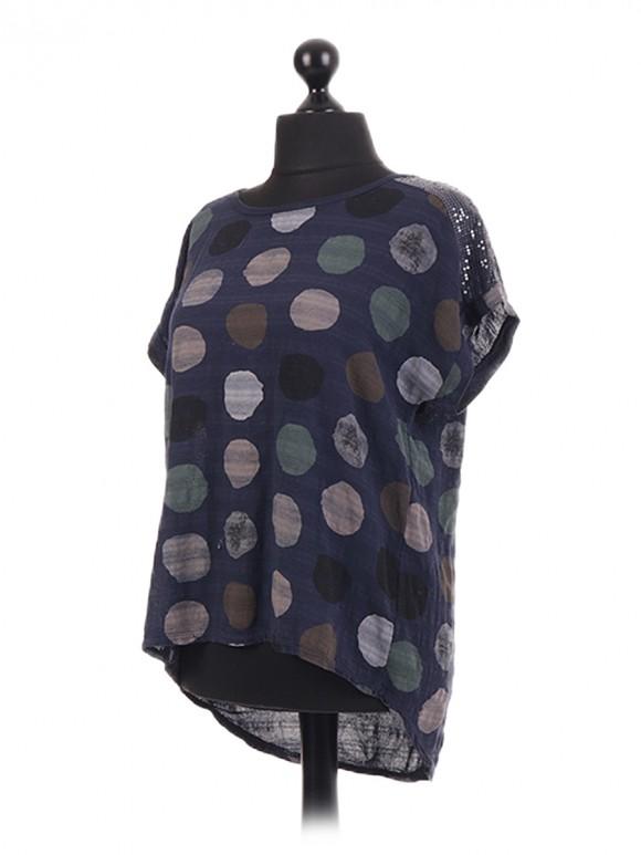 Italian Spot Print Cotton Sequin Top