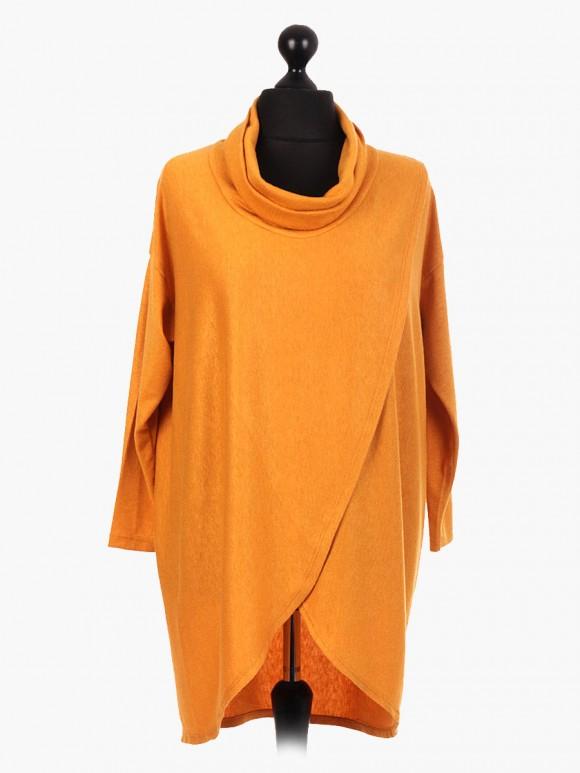 Italian Cowl Neck Lagenlook Wrap Over Dress