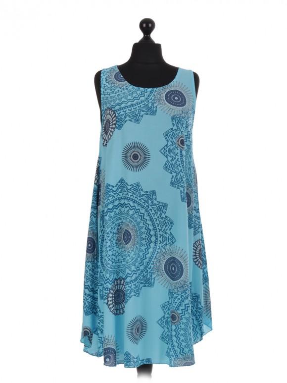 Italian Aztec Print Sleeveless Dress