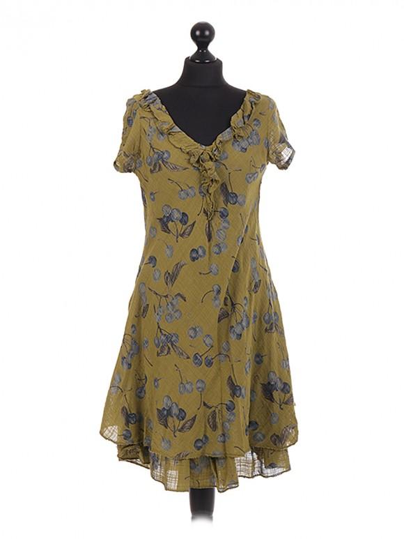 Italian cherry Printed Layered Frilled Dress