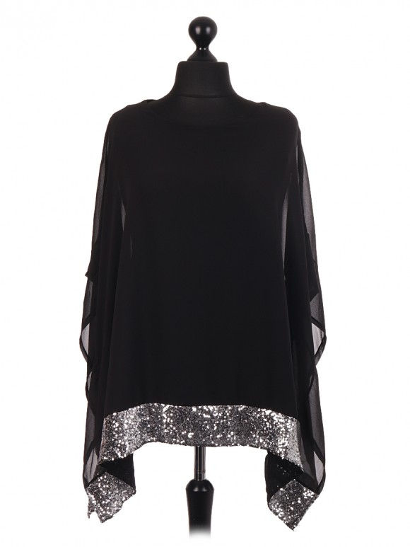 Chiffon Sequin Embellished kaftan Tunic