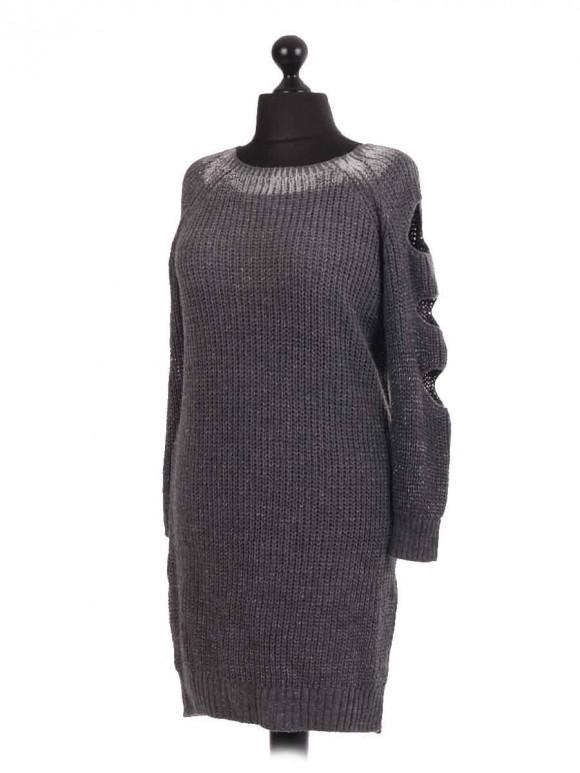 Chunky knit Slashed Shoulder Longline Jumper