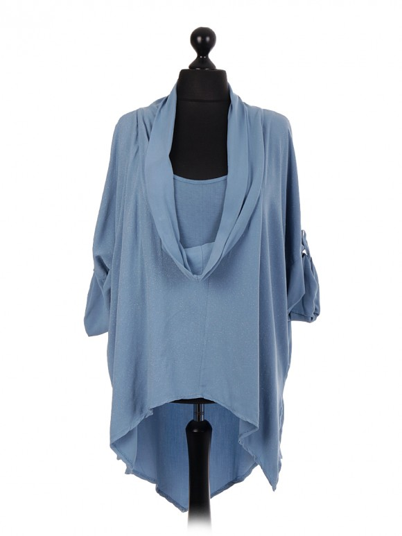 Italian Cowl Neck Two Piece Top With Turn-up Sleeves