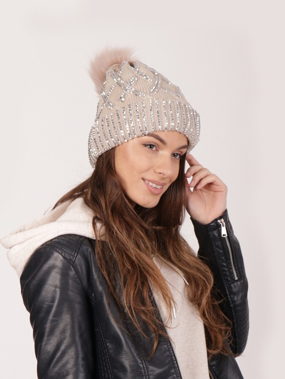 Pom Pom Knitted Diamante Hat